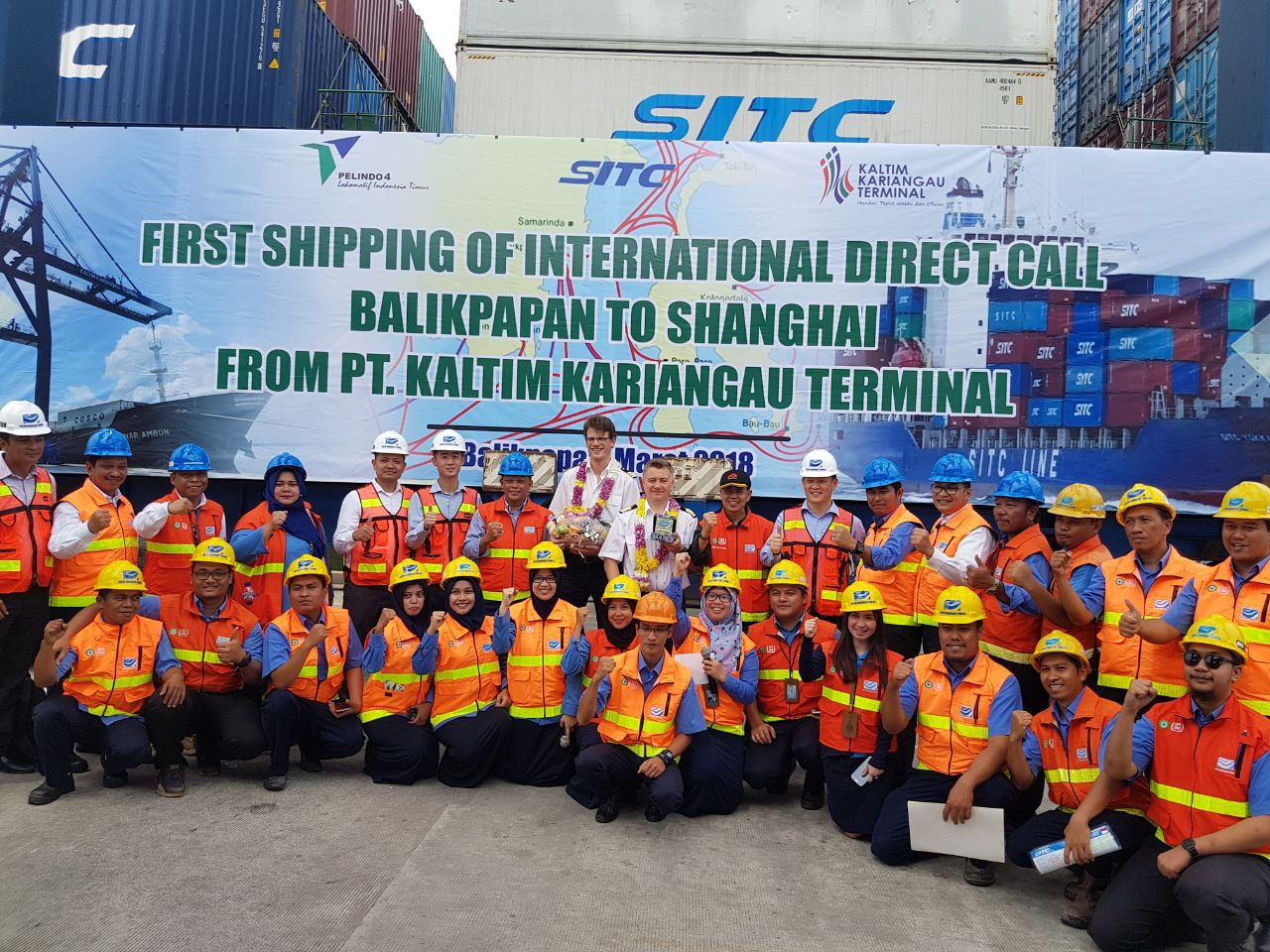 MV.LAILA serving SITC Container Line Indonesia route slowly entered the KKT (PT. Kaltim Kariangau Terminal) container terminal in Balikpapan, East Kalimantan, Indonesia